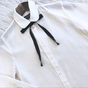 ec235194 Gucci Uniform Silk Shirt w/Grosgrain Ribbon Tie 36